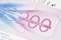 Close-up of a two hundred euro banknote