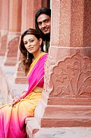 Portrait of a young couple smiling, Agra, Uttar Pradesh, India