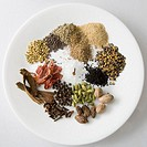 High angle view of spices in a plate