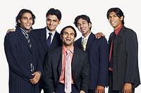 Portrait of five businessmen smiling