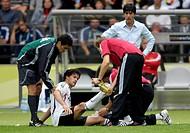 Sport, football, world championships, quarter final, Germany versus Argentina, 4:2 1:1, Berlin, 30 6 2006, Massimo Busacca, Michael Ballack, Hans Wilh...