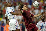 Sport, football, world championships, semifinal, Portugal versus France, 0:1, Munich, 5 7 2006, from left to right, Sylvain Wiltord, Maniche, William ...