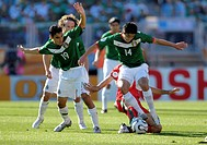 Sport, football, world championships, Mexico versus Iran, 3:1, Nuremberg, 11 6 2006, from left to right, Omar Bravo, Gonzalo Pineda, footballer, sport...
