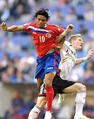 Sport, football, world championships, Germany versus Costa Rica, 4:2, Munich, 9 6 2006, from left to right, Walter Centeno, Bastian Schweinsteiger, fo...
