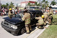 Fire Rescue, Open House, wrecked vehicle, Jaws of Life demonstration, firemen. North Miami Beach. Florida. USA
