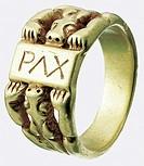 Kunst, Epochen, Mittelalter, Kunsthandwerk, goldener Fingerring, salisch, 1. Hälfte 11. Jh., Inschrift Pax, Ring, Gold, Tiere, Löwen, deutsche Goldsch...