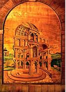 fine arts, furniture, cabinet, attachment, detail, fantasy architecture, circa 1550, wood, Bavarian National museum, Munich, Germany, historic, histor...