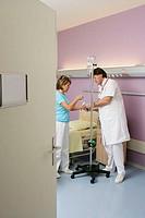 ELDERLYHOSP PATIENTW DOCTOR<BR>Reconstructedsceneinhospital