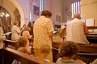 Sunday mass in the church . Valensole. Alpes de Haute-Provence (04). Provence. France