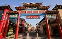 Gate, Chinatown, Los Angeles, California, USA