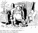 Medizin hist - Krankheiten, Gicht Arthritis urica Karikatur von Wilhelm Busch aus ´Der neidische Handwerksbursch´ 1832 - 1908 dick dicker, verbundenes...