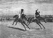 SG hist , Sport, Reiten, Pferderennen, Xylografie nach Zeichung von William Small, 1887, England, Großbritannien, Jockey, Jockeys, Reiter, Rennen, Re...