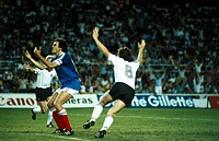 Sport / Sports, soccer, football, World Cup 1982, semifinal, Germany against France 8:7 in Seville, Spain, 8 7 1982, jubilation after bicycle kick by ...