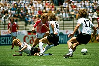 Sport / Sports, soccer, football, World Cup 1986, final round, group match, Denmark against Germany, 2:0 in Queretaro, Mexico, 13 6 1986, scene with A...
