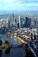 Aerial view of buildings and river in city, Main River, Frankfurt, Hessen, Germany