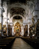 geography/travel, Germany, Bavaria, Diessen at Ammersee, churches and convents, Marienmünster minster, interior view, view at choir with high altar, 1...