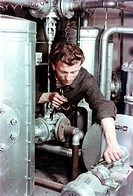people, professions, fitter, Germany, 1950s, profession, historic, historical, craft, craftsman, millwright, pipe, pipework, pump, repairing,