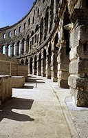 travel /geography, Croatia, Pula, amphitheatre, interior view, outer wall, built 1st century A D  under emperor Augustus, historic, historical, Europe...