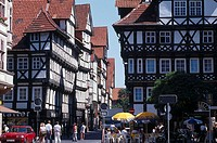 Timber_framed houses in city, Hannoversch Muenden, Lower Saxony, Germany
