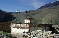 Chorten buddhist shrines near Photaksar, Zanskar, India