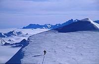 Dutch mountaineer Ronald Naar ascending the last meters of an unclimbed peak in the mountains of eastern Greenland