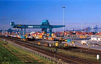 Container terminal in Rotterdam, the Netherlands