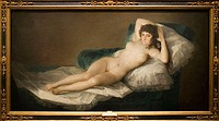 'The Nude Maja' (ca. 1800) by Francisco de Goya in the Prado museum, Madrid. Spain
