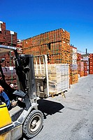 Forklift in a brickyard