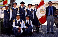 Schoolgirls in the parade day. Huancavelica, Peru