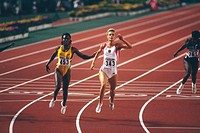 Krabbe, Katrin, * 22 11 1969, German athlete athletics, full length, with Merlene Ottey, world championship, Tokio, 1991, sprinter, gold medal winner,...