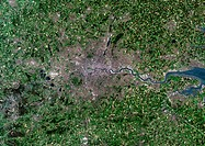 Greater London, satellite image  North is at top  Vegetation is green, water is blue and urbanised areas are grey and pink  London is the most populou...