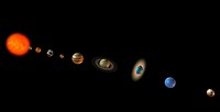 Solar system  Computer artwork of the Sun left and the eight planets of the solar system and the dwarf planet Pluto far right  The planets from left t...