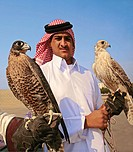 Hamed Hussein with his falcons at Al Ruwaiss. Qatar