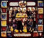 Ü SG hist , Justiz, Gerichtsszene, Landgericht in Güttingen / Bodensee, Glasmalerei von Hieronymus Spengler 1630, Rosgarten Museum Konstanz, Gericht, ...