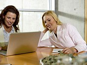 Businesswomen sitting at desk with laptop