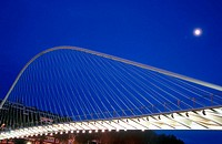 Zubizuri bridge by Santiago Calatrava architect. Bilbao. Biscay. Basque country. Spain