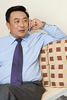 Businessman talking on his cell phone on couch