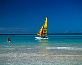 Caribbean, sea, beach-proximity, sailboat, swimmers, no models release, tourists, water, stands, refreshment, cooling, bath-fun, boat, sailing, water-...