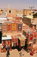 Morocco, Marrakesch, old part of town, carpet-business, overview, Bazar, Souk, market, Souk El Kebir, sale, carpets, Orient-carpets, Persian-carpets, ...