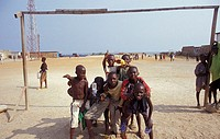 Soccer ground, teenagers, people of color, cheerfully, group-picture, no models black-Africa, people, children, people of color, release, Africa, Afri...