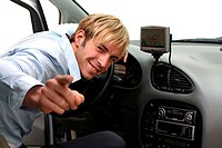 Man, Autofahren, navigation-system, gesture, joy, solution, gaze camera, car, vehicle, private car, indoors, motorists, navigation-appliance, fingers,...