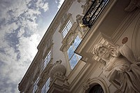 Austria, Vienna, 1  Borough, residence, facade, detail, from below, cloud-heavens, back light, capital, house, house-facade, statues, sculptures, stuc...