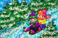 Illustration, children, cheerfully, sleds, snowflakes, forest, winters, computer-graphics, season, Christmas time, friends, two, winter-clothing, bois...