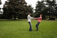 Park, pair, cheerfully, hands, holds, circle, turns, series, people, 30-40 years, love-pair, love, affection, happily, fun, joy, foolishly, devilment,...