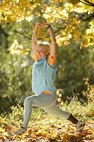 Woman, sport, fitness, Dehnübung, forest, 30-40 years, blond, athletically, sportswear, outside, nature, activity, movement, practice, poor, legs, len...