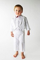 Give birth, suit, white, festive, gaze camera, series, people, child, 3-4 years, barefoot, clothing, vest, fly, party, celebration, cutely, childhood,...