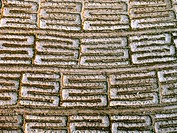 Top view of Small beds in soil prepared for sowing in a farm by taditional agricultural way. Pune, Maharashtra, India.