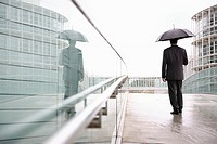 Goes businessman, umbrella, back-opinion, series, people man 30-40 years dark-haired suit, business-clothing, business, quite-bodies, business-buildin...