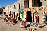 Tunisia, Medenine, businesses, sale, souvenirs, South-Tunisia, buildings, former silos, souvenir-businesses, souvenir-sale, earthenware, dishes, potte...