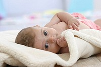 Floor, baby, blankets, lies, gaze camera, series, people, child, 5 months, upper bodies freely, thumbs, mouth, suck childhood, naturalness innocence i...